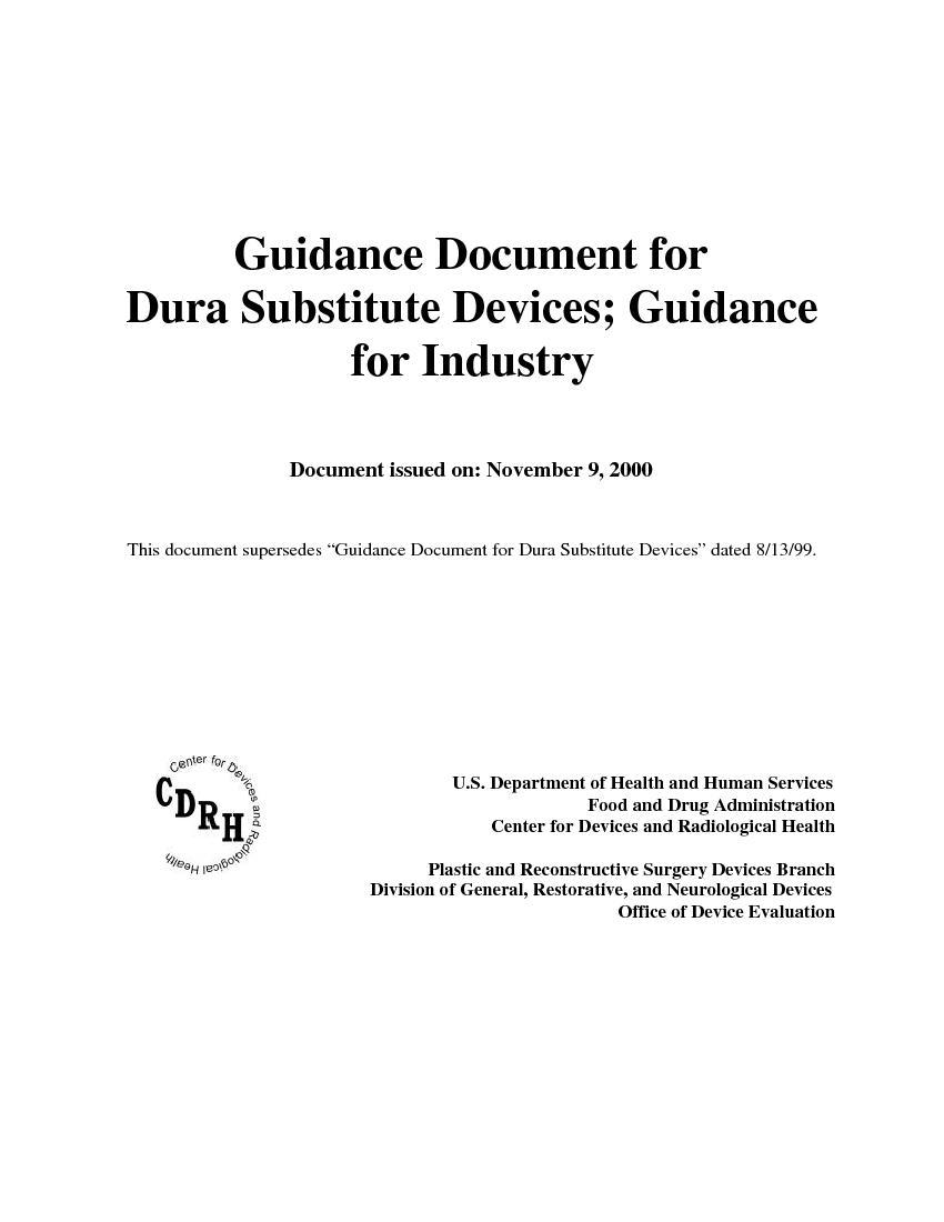 Guidance Document forDura Substitute Dev