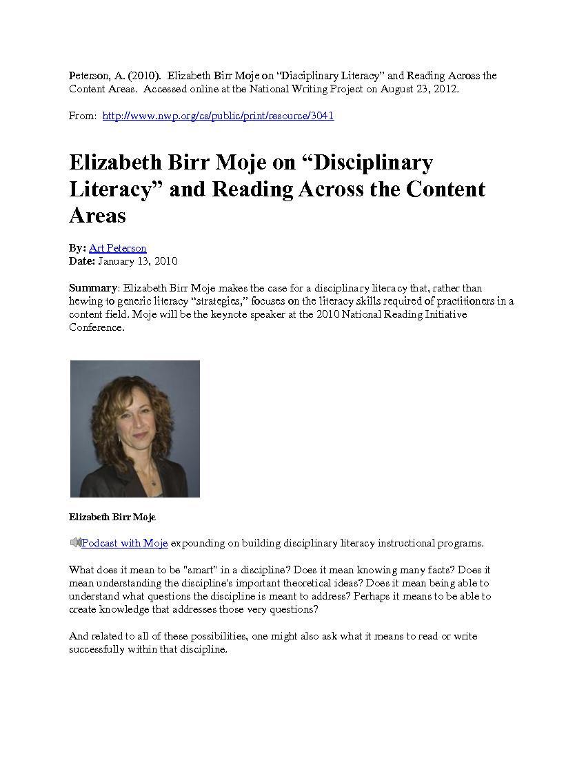 Peterson, A. (2010).  Elizabeth Birr Moj
