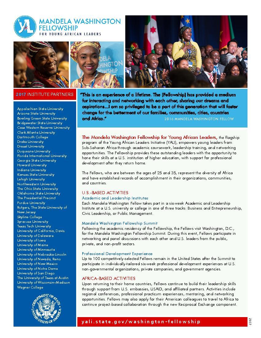 2017    yali.state.gov/washington-fellow