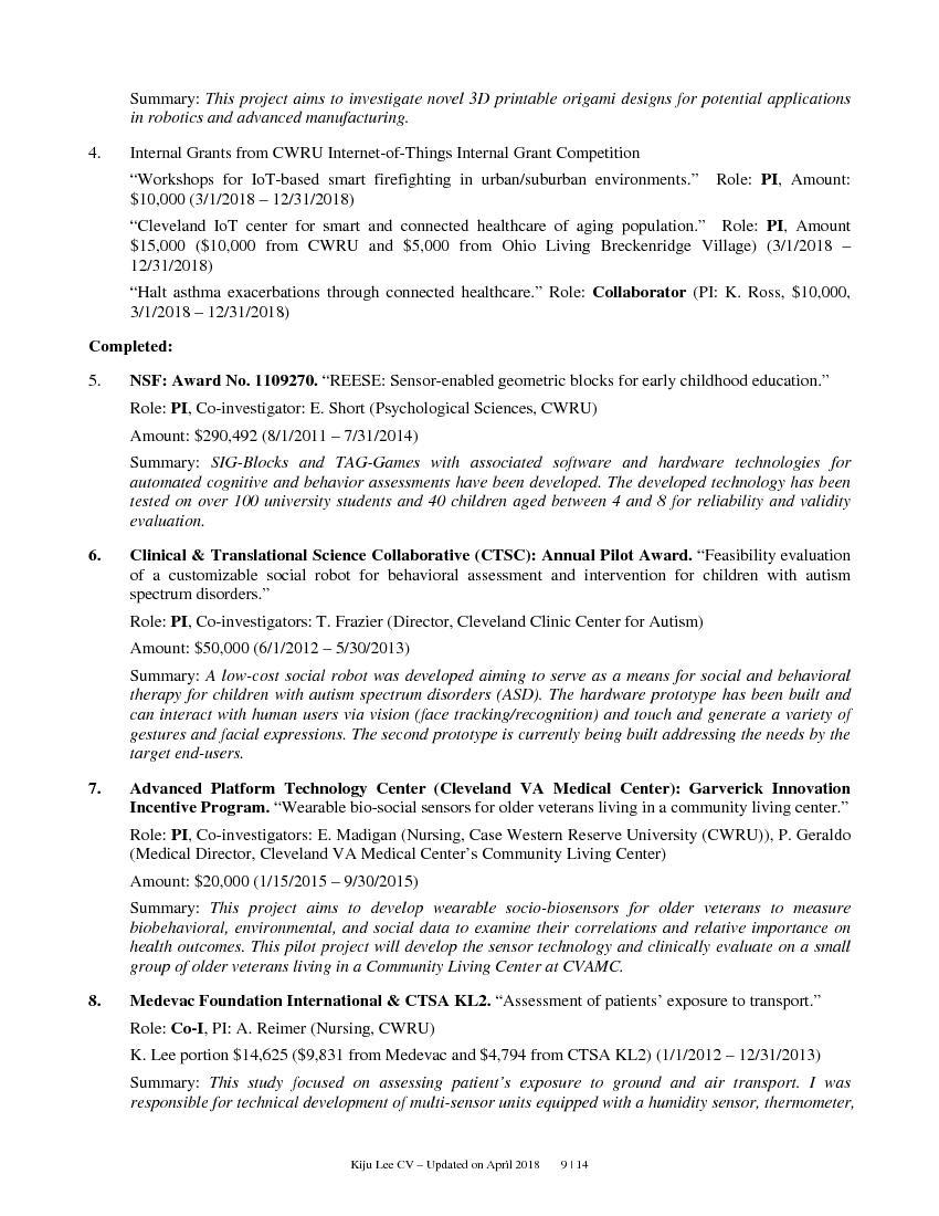CV Updated onApril2018     | 14Summary: