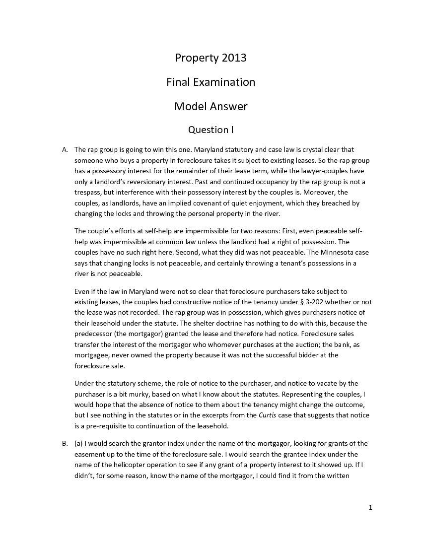 1     Property 2013   Final  Examination