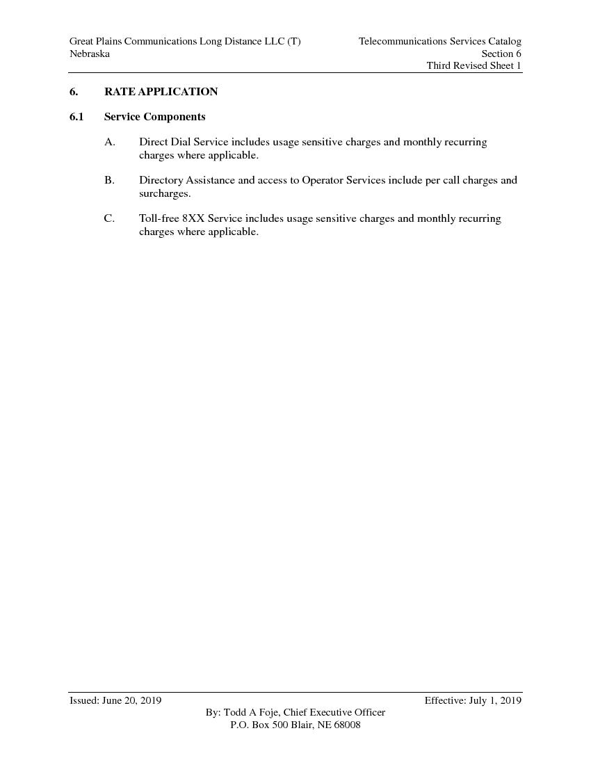 Revised Sheet 1 RATE APPLICATIONService