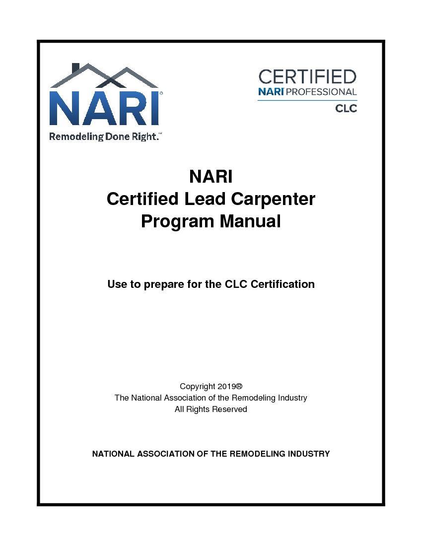 NARICertified Lead CarpenterProgram Manu